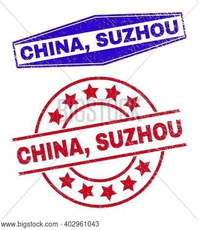 China, Suzhou Badges. Red Rounded And Blue Extended Hexagonal China, Suzhou Stamps. Flat Vector Dist