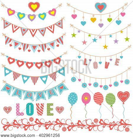 Set Of Holiday Paraphernalia, Vintage Garlands Paper Flags And Hearts, Balloons, For Decorating Gree