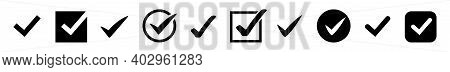 Check Mark Vector Icon. Check Mark Set On White Background. Confirm Button Collection. Tick Symbol I