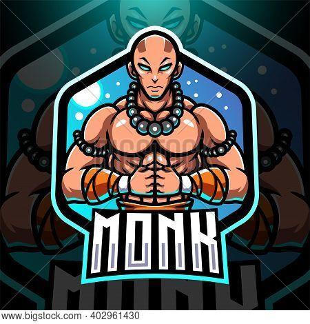 Monk Esport Mascot Logo Design With Text