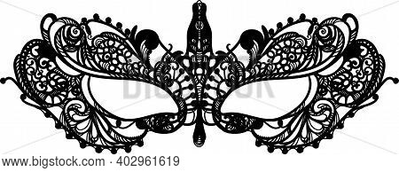 Black Openwork Fabric Mask Decorative Carnival For The Face On A White Background