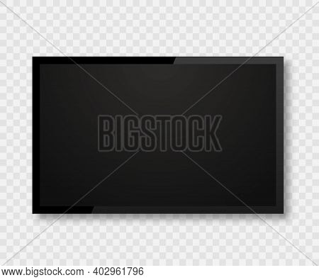 Realistic Tv Screen. Tv, Lcd, Led Modern Blank Device Mock Up. Blank Screen Isolated. Television Tem