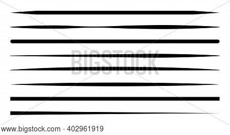 Hand Drawn Underline Different Shapes. Set Of Black Strokes. Marker Pen Highlight. Vector Illustrati