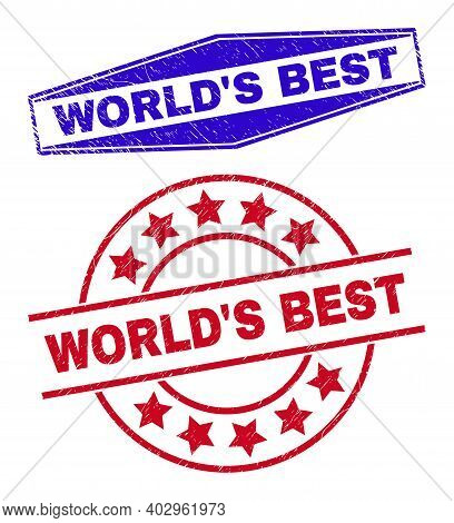 Worlds Best Stamps. Red Rounded And Blue Squeezed Hexagonal Worlds Best Stamps. Flat Vector Textured