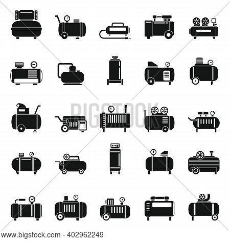 Air Compressor Pneumatic Icons Set. Simple Set Of Air Compressor Pneumatic Vector Icons For Web Desi