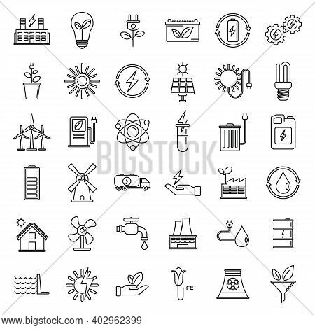 Bio Clean Energy Icons Set. Outline Set Of Bio Clean Energy Vector Icons For Web Design Isolated On
