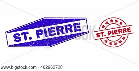 St. Pierre Stamps. Red Circle And Blue Extended Hexagonal St. Pierre Seal Stamps. Flat Vector Grunge