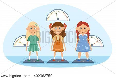 Three Young Girls Being Weighed On Scales, With One Too Thin And One Overweight Looking Unhappy And