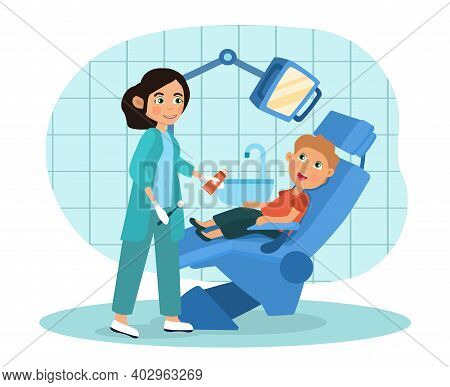 Little Boy Visiting A Pediatric Dentist Seated In The Chair In The Surgery Attended To By The Dental