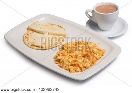 Colombian Food Called Arepa Con Omelette, Cup Of Coffee, On A White Background