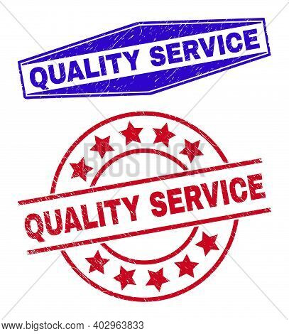 Quality Service Stamps. Red Rounded And Blue Expanded Hexagonal Quality Service Rubber Imprints. Fla