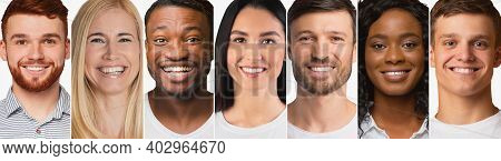 Diverse Millennials Portraits Over White Background. Collage Of Females And Males Headshots With Row
