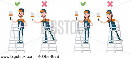 Ladder Safety Right And Wrong Position. Man And Woman Painting Wall On Ladder Step Vector Cartoon Ch