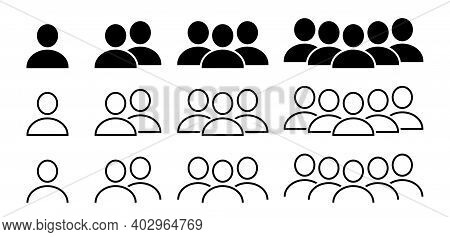 People Icons Set. People Group Vector Icon In Flat Style. Team Communication Icon Symbol. Isolated V