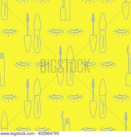 Vector Seamless Pattern With Eyelashes, Mascara. Decorative Cosmetics, Makeup Background. Glamour Fa