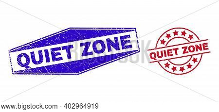 Quiet Zone Stamps. Red Rounded And Blue Compressed Hexagonal Quiet Zone Watermarks. Flat Vector Scra