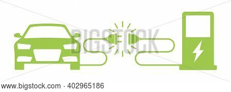 Electric Refueling Car. Car Station. Battery Recharging Auto Flat Vector Illustration. Eco Power Sta