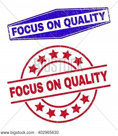 Focus On Quality Stamps. Red Round And Blue Flatten Hexagonal Focus On Quality Seal Stamps. Flat Vec