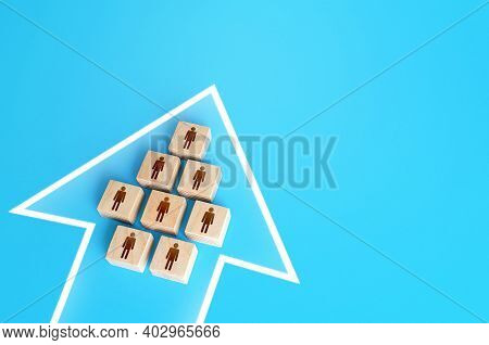 A Group Of People Form A Single Movement Arrow. Consolidation, Striving For A Common Goal. Organizat