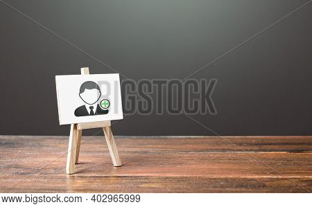 Easel With A Symbol Of Hiring New Employees. Help Wanted. Recruiting And Hr Management. Hiring Worke