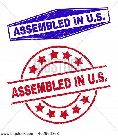 Assembled In U.s. Badges. Red Rounded And Blue Compressed Hexagonal Assembled In U.s. Seal Stamps. F