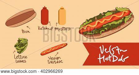 Vector Hotdog With Mustard Vegan Sausage . Illustration Vector. Icon Isolated. Vegan Hotdog. Vegan ,
