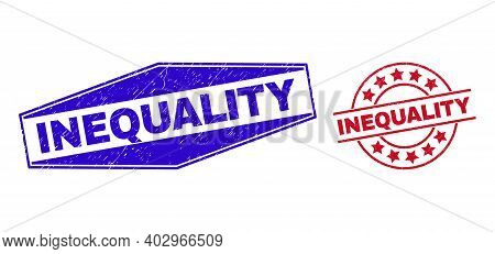 Inequality Stamps. Red Rounded And Blue Flattened Hexagonal Inequality Rubber Imprints. Flat Vector