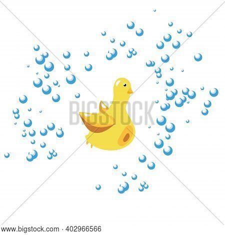 Cute Duck Toy In The Shower Foam