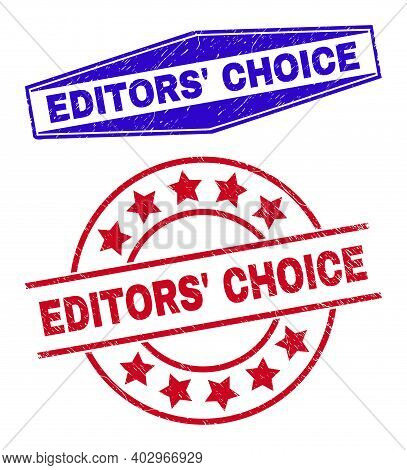Editors Choice Badges. Red Round And Blue Flatten Hexagon Editors Choice Watermarks. Flat Vector Dis