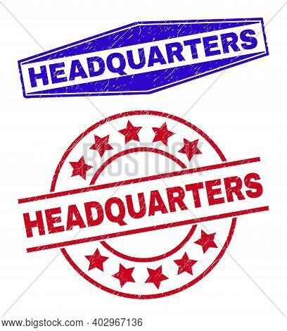 Headquarters Stamps. Red Rounded And Blue Compressed Hexagon Headquarters Rubber Imprints. Flat Vect