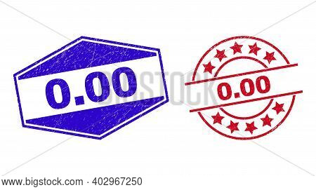 0.00 Stamps. Red Round And Blue Extended Hexagonal 0.00 Watermarks. Flat Vector Distress Stamps With