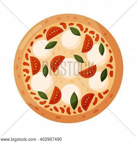Pizza With Tomatoes, Mozzarella And Basil. Izolated On White Background. Italian Fast Food.