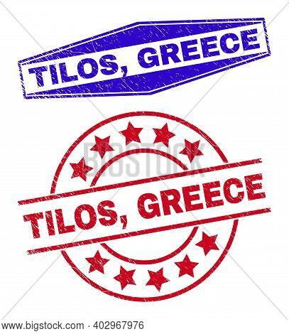 Tilos, Greece Stamps. Red Circle And Blue Flatten Hexagon Tilos, Greece Seal Stamps. Flat Vector Dis