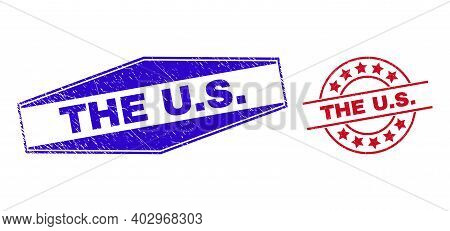 The U.s. Badges. Red Rounded And Blue Compressed Hexagon The U.s. Seals. Flat Vector Grunge Seals Wi