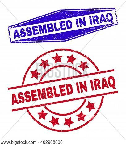 Assembled In Iraq Badges. Red Circle And Blue Compressed Hexagonal Assembled In Iraq Watermarks. Fla