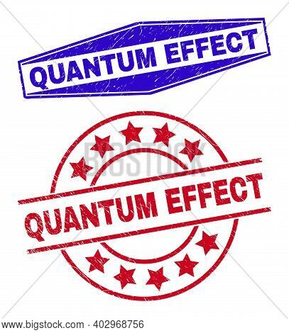 Quantum Effect Badges. Red Rounded And Blue Squeezed Hexagonal Quantum Effect Seals. Flat Vector Dis