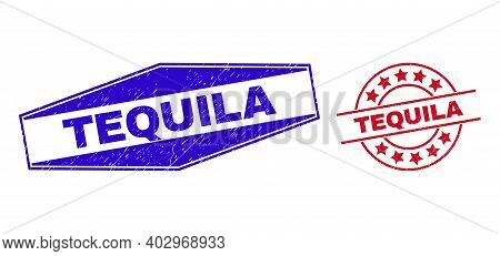 Tequila Stamps. Red Circle And Blue Compressed Hexagon Tequila Seal Stamps. Flat Vector Distress Sta