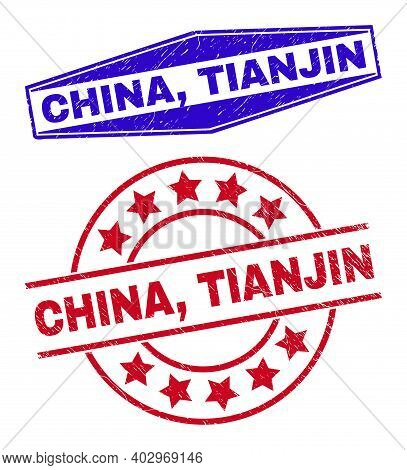 China, Tianjin Stamps. Red Rounded And Blue Extended Hexagonal China, Tianjin Rubber Imprints. Flat