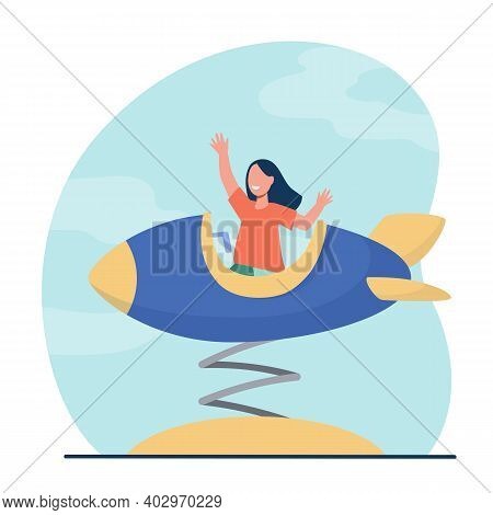 Happy Girl Riding In Toy Rocket And Smiling. Carousel, Fun, Child Flat Vector Illustration. Vacation