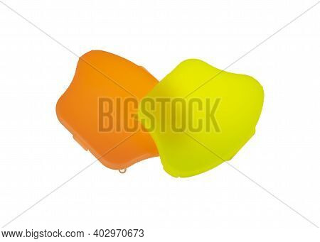 Plastic Face Mask Type Kn95 And N95 Storage Boxes Isolated On White Background. Coronavirus Covid-19