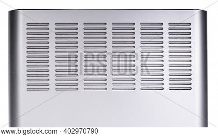 Silver perforated plastic texture with lines