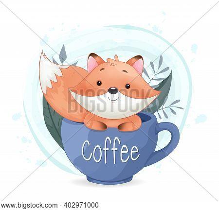 Cute Foxy Sitting In Big Coffee Cup. Adorable Fox Cartoon Character. Stock Vector Illustration