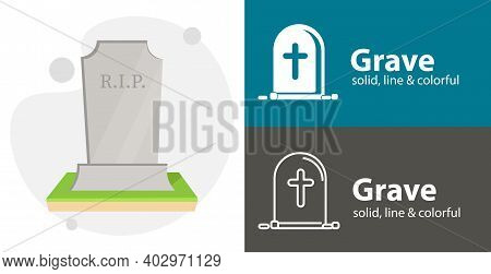 Grave Illustration, Death Isolated Vector Icon. Religion Line Solid Flat Icon