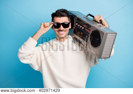 Photo Portrait Of Cool Guy With Stubble Touching Glasses Carrying Boombox On Shoulder Isolated On Pa