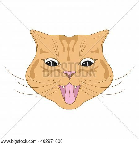 Cute Happy Cat Cartoon. Cheerful Red-headed Cat, Emotion. Red Cat Smile. Characters, Funny Cat's Fac