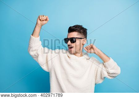 Photo Portrait Of Cool Guy With Stubble Dancing Isolated On Pastel Blue Colored Background
