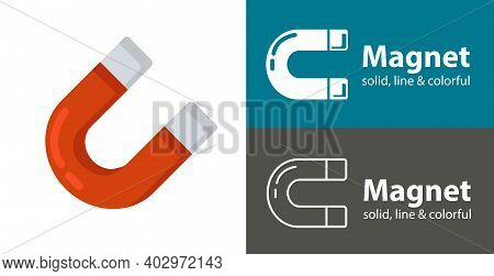 Magnet Isolated Vector Icon. Space Line Solid Flat Icon