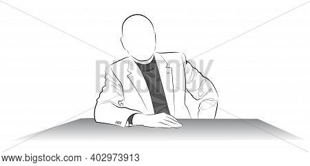 Silhouette Of A Man In A Jacket Sitting At The Table - Vector Illustration