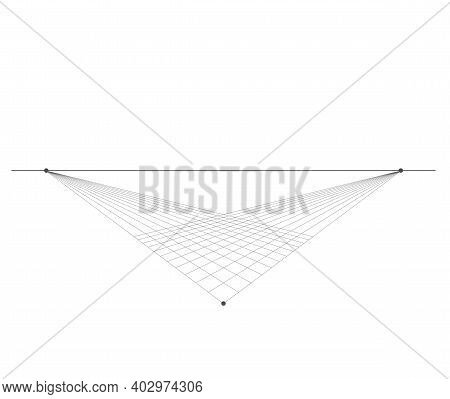 Perspective Grid Background 3d Vector Illustration. Model Projection Background Template. Line Two P