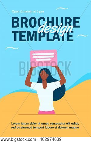 African American Woman Holding Banner With Text. Disagreement, Information, Attention Flat Vector Il